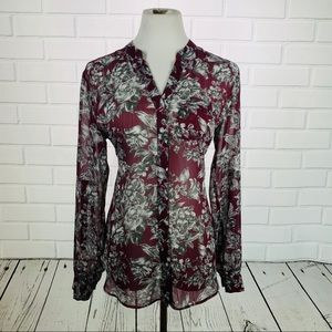 Kut From The Kloth Maroon Floral LS Button Down- M